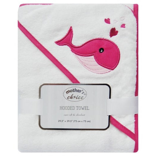 100% COTTON HOODED TOWEL 'PINK WHALE'