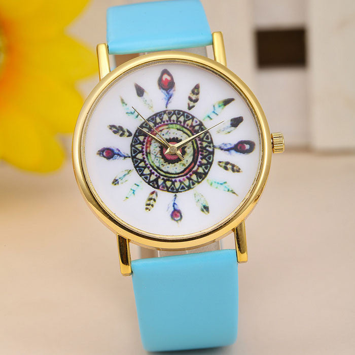 Ladies Retro Feather Dial Watches