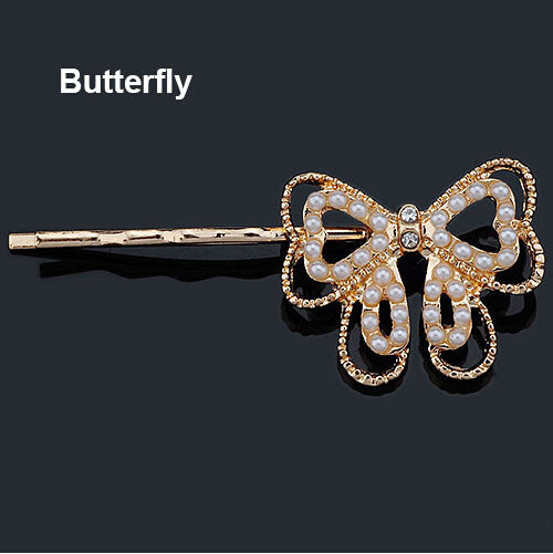 Crystal Rhinestone Hair Clips - Butterfly