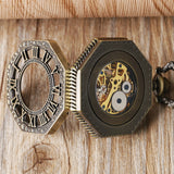 Octagon Skeleton Automatic Mechanical Pocket Watch