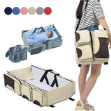 Multifunctional Baby Diaper Bag-Travel Bed - Beige