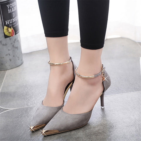 Ladies Suede Pumps Metal Toe - Grey