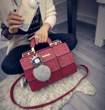 Ladies Patch Suture Hand Bag - Red