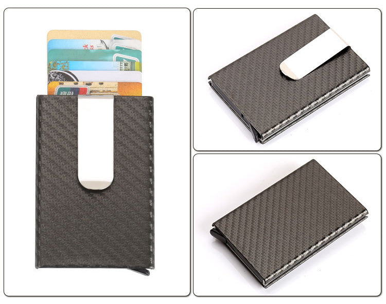 Men's Metal Credit Card Holder Wallet - Black Ribbed