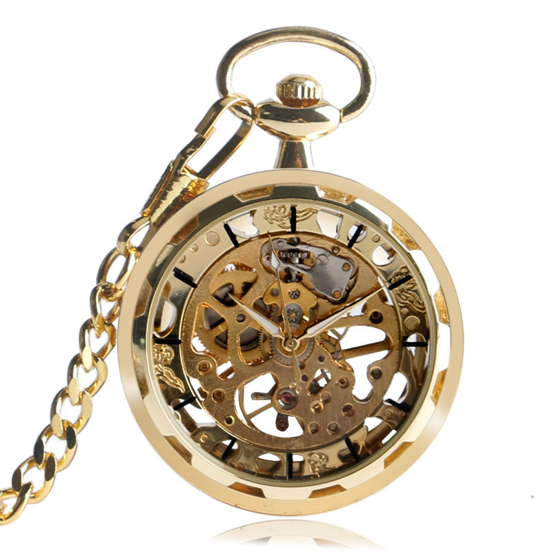 Steam Punk  Skeleton Semi-Automatic Mechanical Pocket Watch