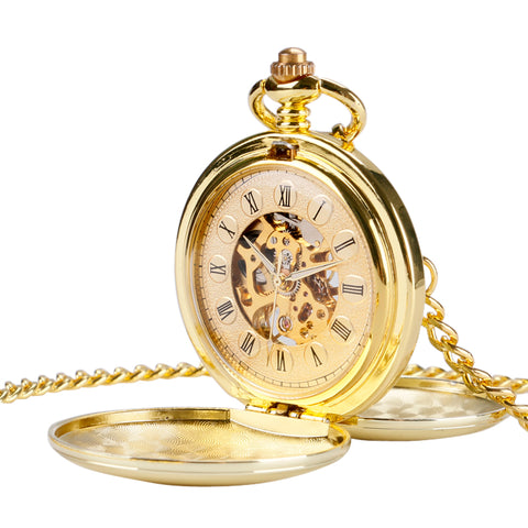 Retro Gold Skeleton Automatic Mechanical Pocket Watch
