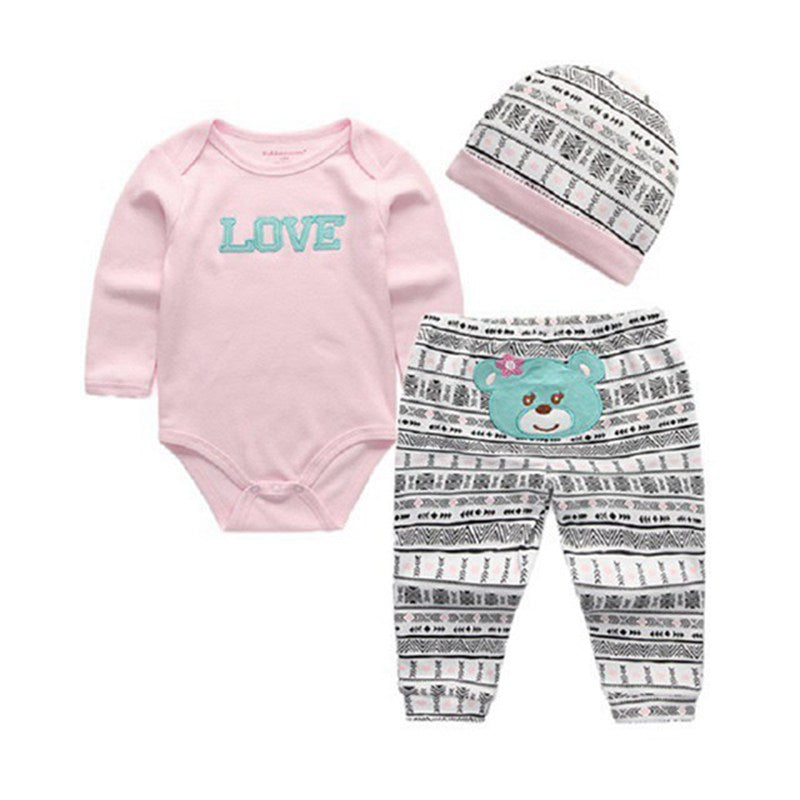 Babies 3pc Romper Pants and Beanie (0-3 months)