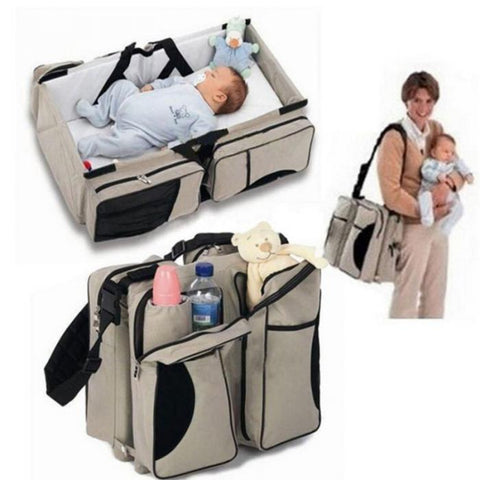 Multifunctional Baby Diaper Bag-Travel Bed - Beige (Ganen)