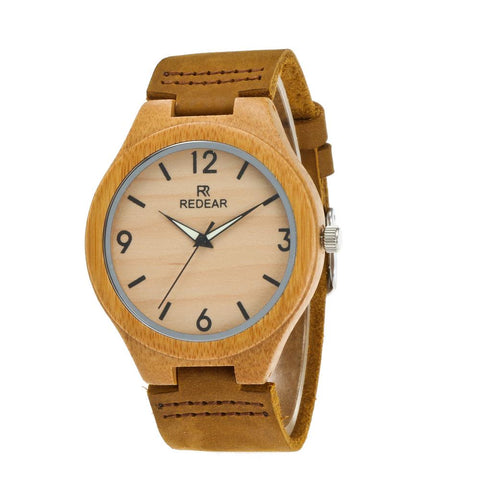 Men's Bamboo Handcrafted Watch - RedEar - Genuine Leather Belt
