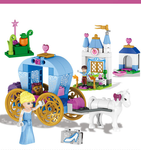 122 pcs Princess Cinderella's Dream Carriage Building Blocks Set