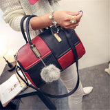 Ladies 2 Colour Patch Tote Hand Bag - Red and Black
