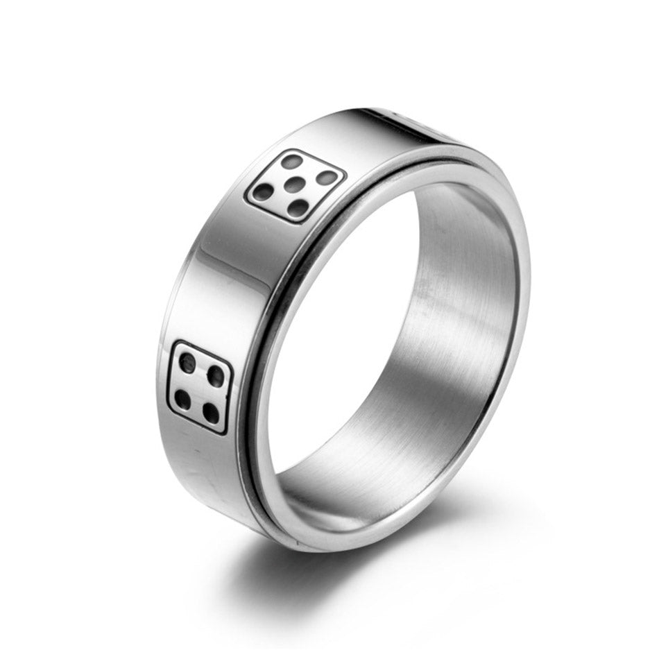Men's Dice Spinner Rings - Silver