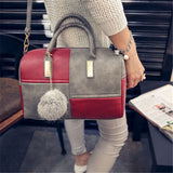 Ladies 2 Colour Patch Tote Hand Bag - Red and Grey