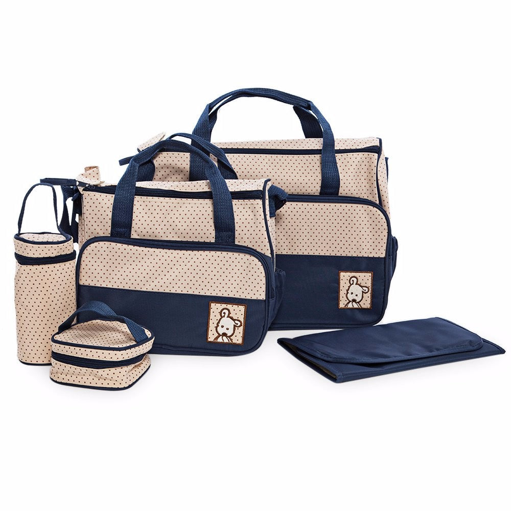 5pcs Baby Changing Diaper Nappy Bag - Navy