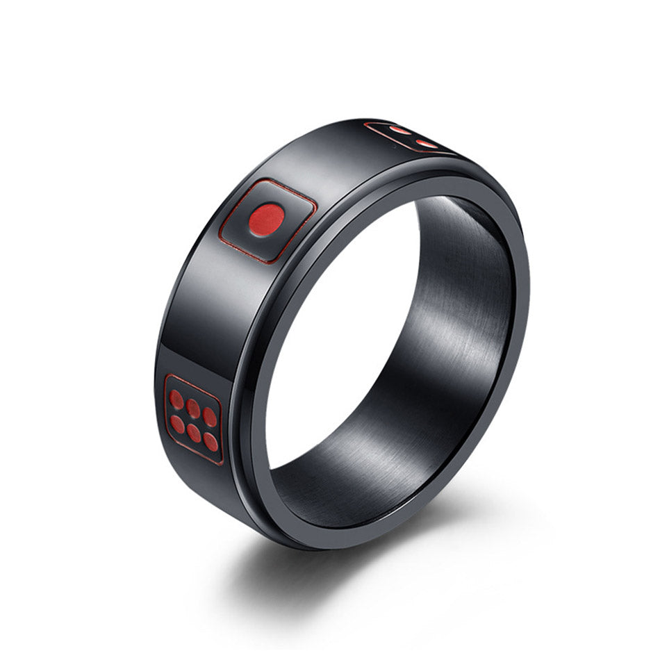 Men's Dice Spinner Rings - Black
