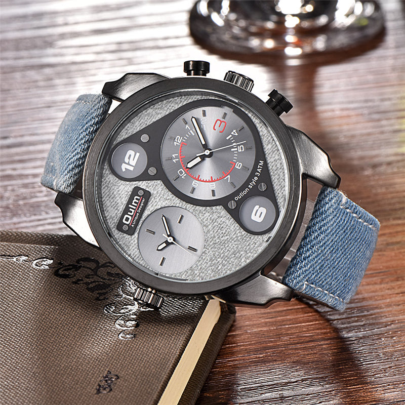 Men's Denim Dual Dial WristWatch
