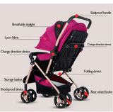 4 Wheel Buggy Pushchair Baby Pram - Purple