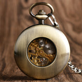 Wooden Finish Skeleton Automatic Mechanical Pocket Watch