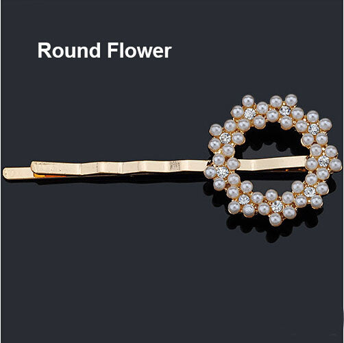 Crystal Rhinestone Hair Clips - Round Flower