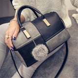Ladies 2 Colour Patch Tote Hand Bag - Black and Grey
