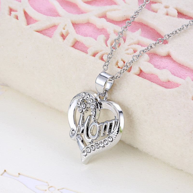 Mom Rhinestone Heart Pendent Necklace