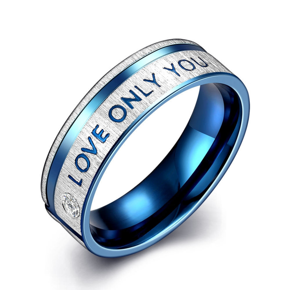 Men's Titanium Stainless Steel Rings - Love Only You Blue