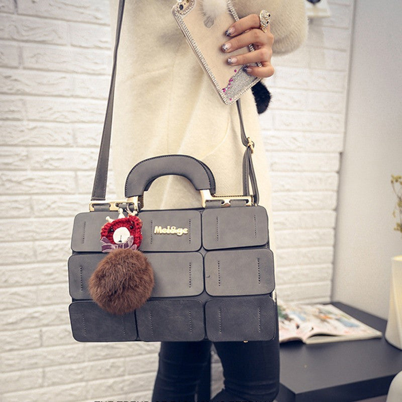 Ladies Patch Suture Hand Bag - Grey