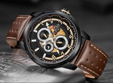 Men's Formal 9142 Naviforce Watch With Genuine Leather Band  - Brown