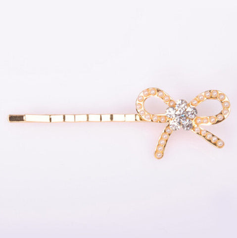 Crystal Rhinestone Hair Clips - Bow Tie
