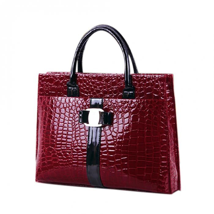 Alligator Pattern Shoulder Bag PU Leather - Horizontal