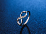 Infinity Crystal Ring Silver/Rose Gold Plated