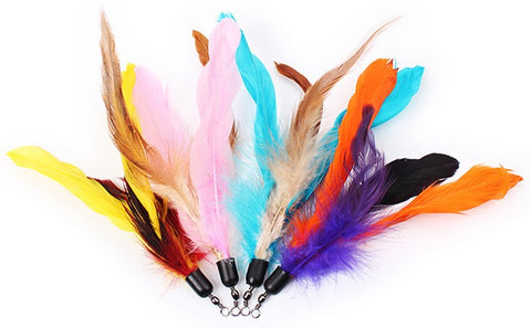10pcs Colorful Cat Toy Feather Replacement For Cat Wand 18cm (without stick)