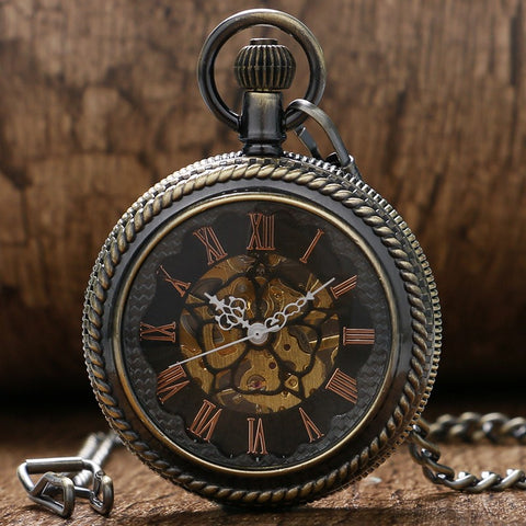 Steampunk Skeleton Automatic Mechanical Pocket Watch