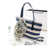 Ladies Canvas Striped Shoulder Bag with FREE Scarf