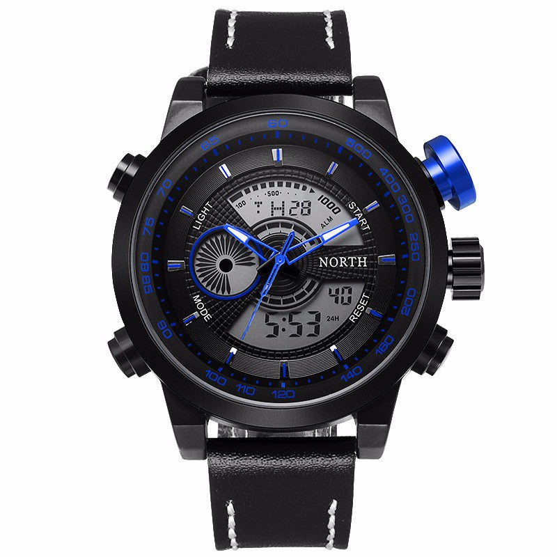 Men's Dual Display LED Watch - Blue