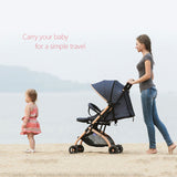 4 Wheel Fold-able Baby Pram With Retractable Handle - Blue