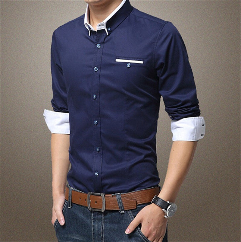 Men's Patchwork Slim Fit 100% Cotton Shirts - Diamond Blue