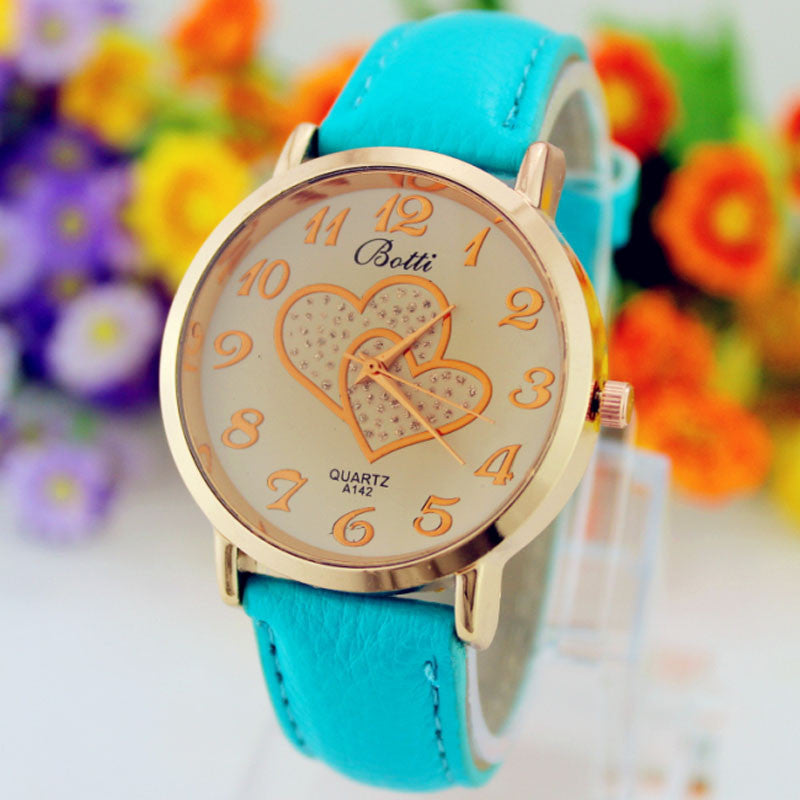 Ladies Double Heart Analog WristWatch - Blue
