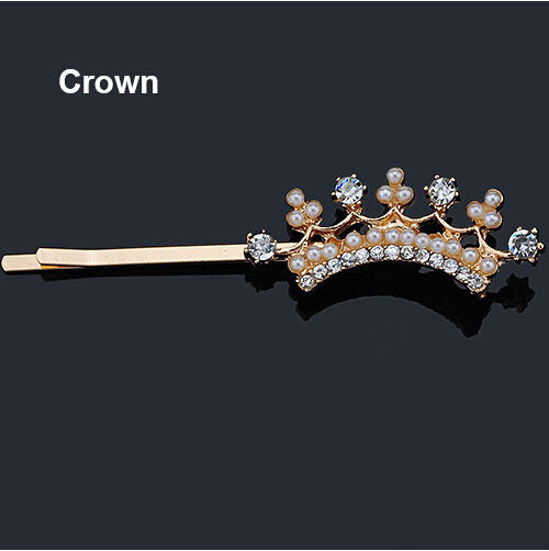 Crystal Rhinestone Hair Clips - Crown