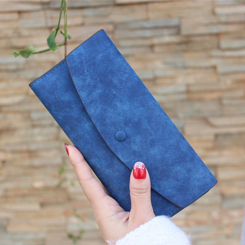 Ladies MultiFunctional Matte Texture Casual Wallets - Royal Blue