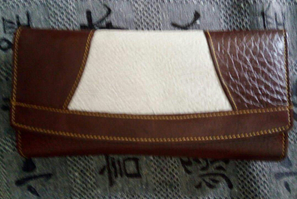 100% Genuine Buffalo Leather Ladies Wallets - 2 tone brown