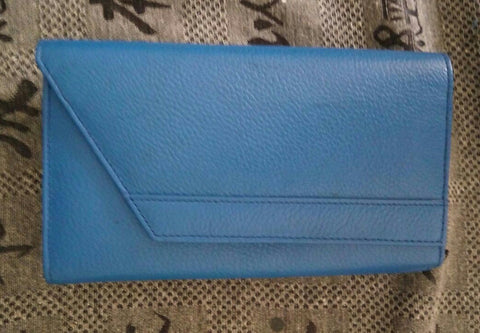 100% Genuine Buffalo Leather Ladies Wallets - Blue