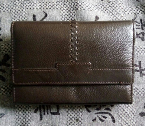 100% Genuine Buffalo Leather Ladies Wallets - Brown