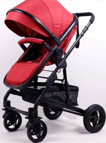4 Wheel 2 in 1 Foldable Baby Pram with detachable bassinet - Maroon