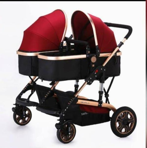 Pram for Twins - 4 Wheel 2 in 1 Foldable Baby Pram with 2 detachable bassinet - Maroon