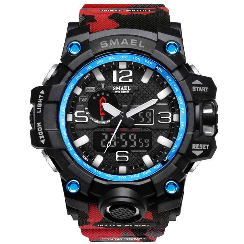 Smael Multifunctional Digital Analog Shock Resistant Chronograph Sports Watch - Red Camo