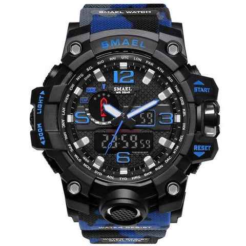 Smael Multifunctional Digital Analog Shock Resistant Chronograph Sports Watch - Blue Camo