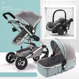 Baby Pram Stroller - 3 Function Foldable Baby Pram with Car Seat- mint green