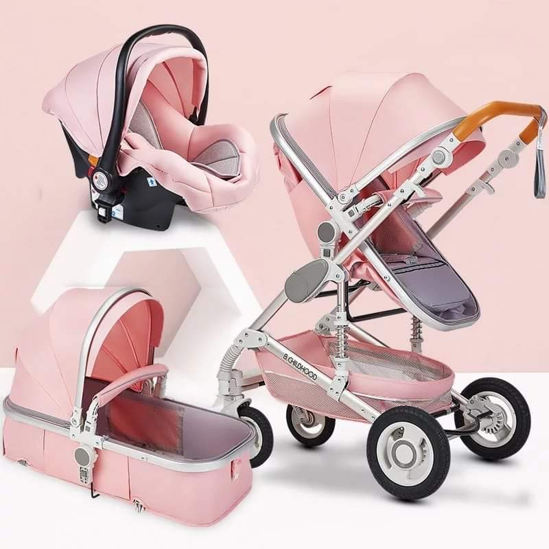 FREE Delivery - Baby Pram Stroller - 3 Function Foldable Baby Pram with Car Seat- Pink