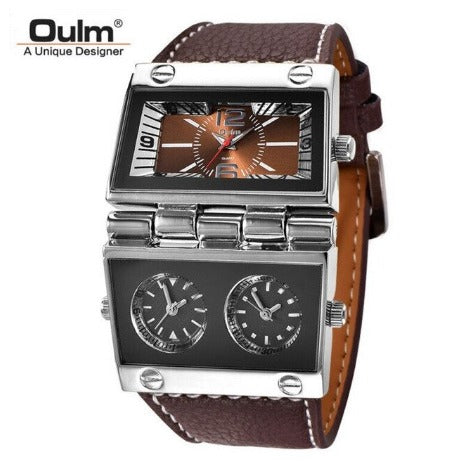 Men's Dual Dial Vintage WristWatch - Brown